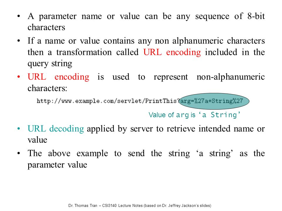 A parameter name or value can be any sequence of 8-bit characters