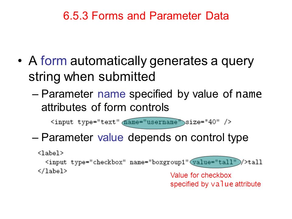 6.5.3 Forms and Parameter Data