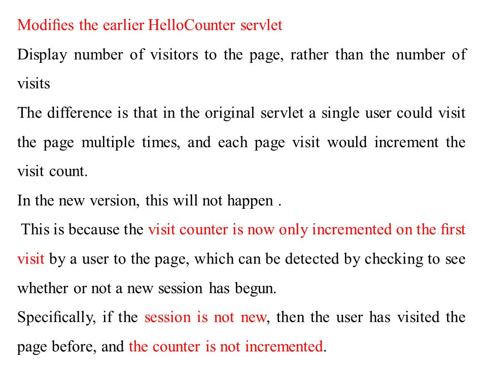 Modifies the earlier HelloCounter servlet
