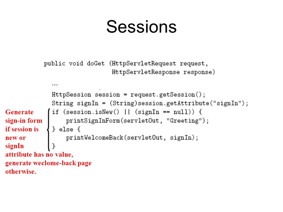 Sessions ,,, Generate sign-in form if session is new or signIn