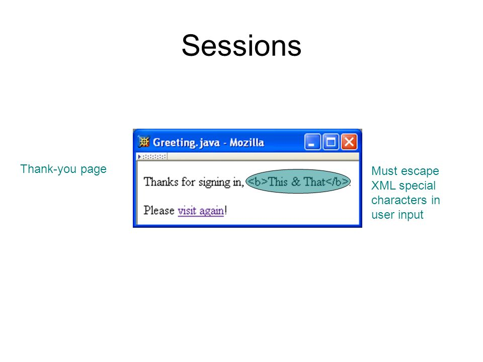Sessions Thank-you page Must escape XML special characters in