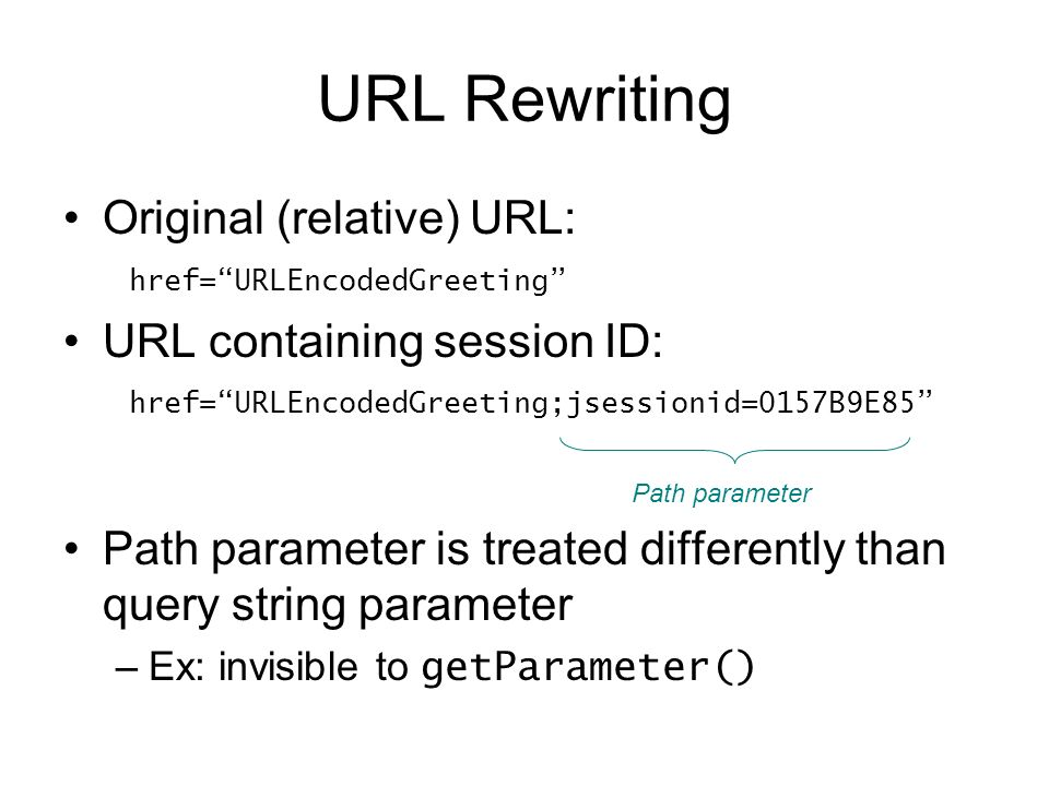 URL Rewriting Original (relative) URL: href= URLEncodedGreeting