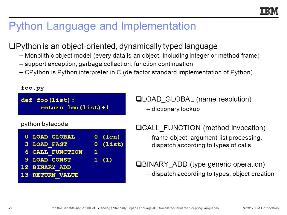 Python Language and Implementation