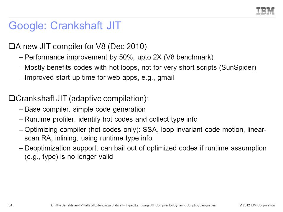 Google: Crankshaft JIT