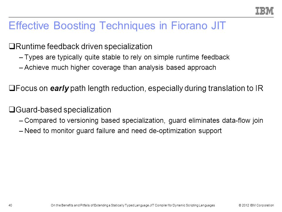 Effective Boosting Techniques in Fiorano JIT