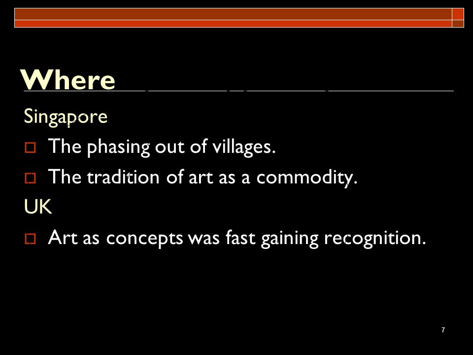 Where Singapore The phasing out of villages.