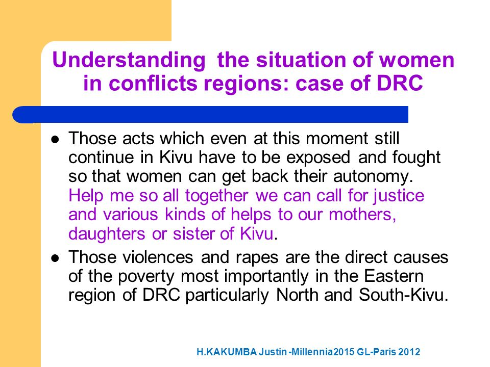 Understanding the situation of women in conflicts regions: case of DRC
