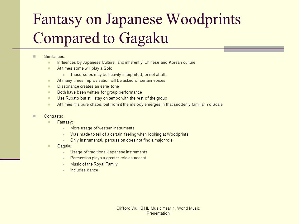 Fantasy on Japanese Woodprints Compared to Gagaku
