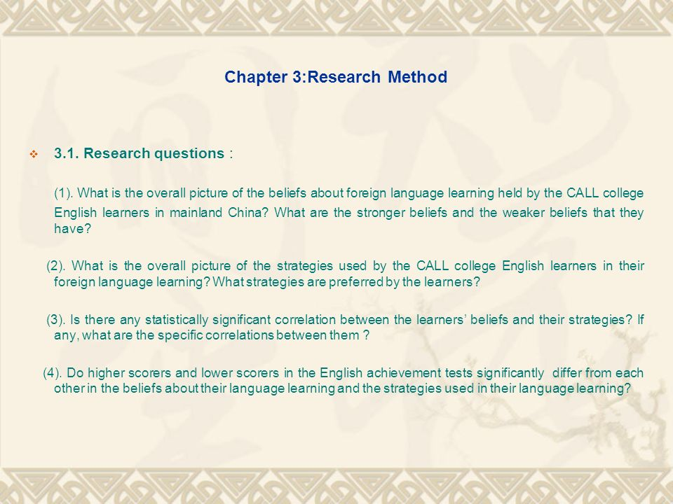 Chapter 3:Research Method