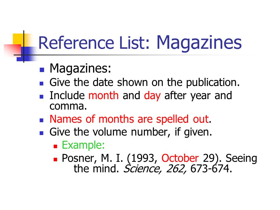 Reference List: Magazines