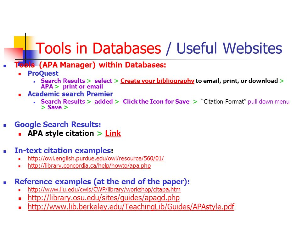 Tools in Databases / Useful Websites