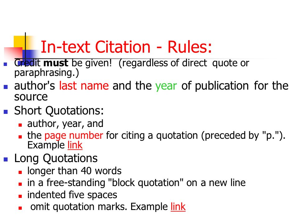 In-text Citation - Rules: