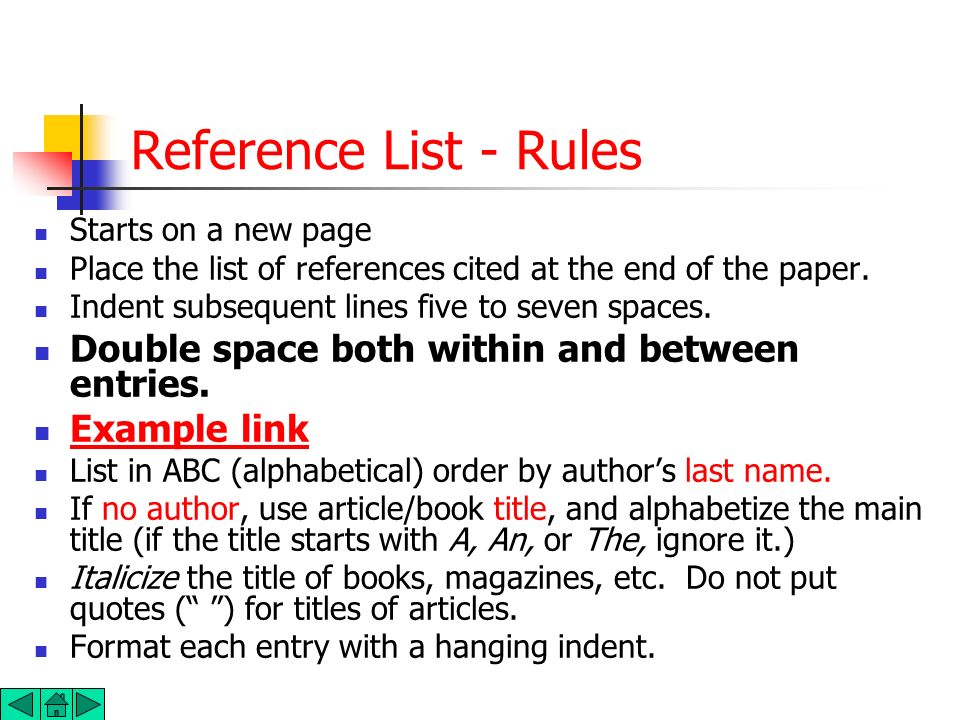 Reference List - Rules Double space both within and between entries.