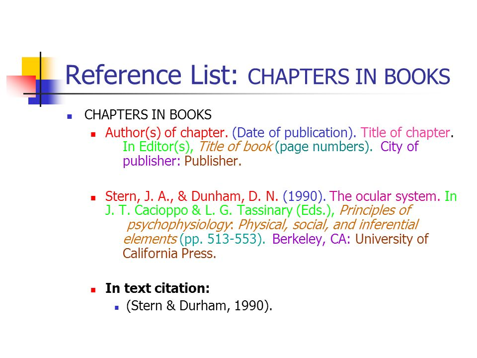 Reference List: CHAPTERS IN BOOKS