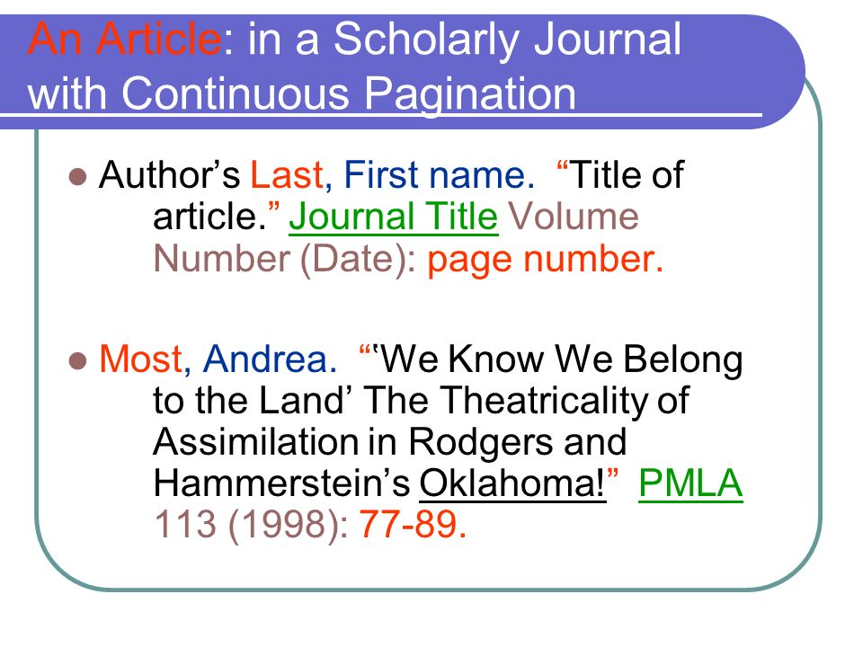 An Article: in a Scholarly Journal with Continuous Pagination