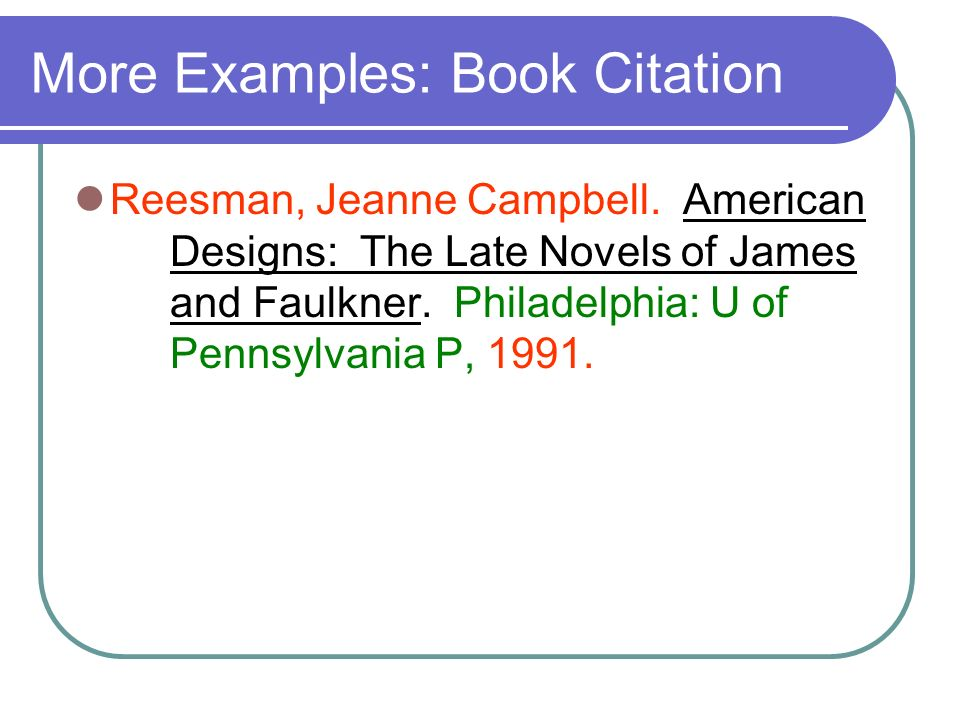 More Examples: Book Citation