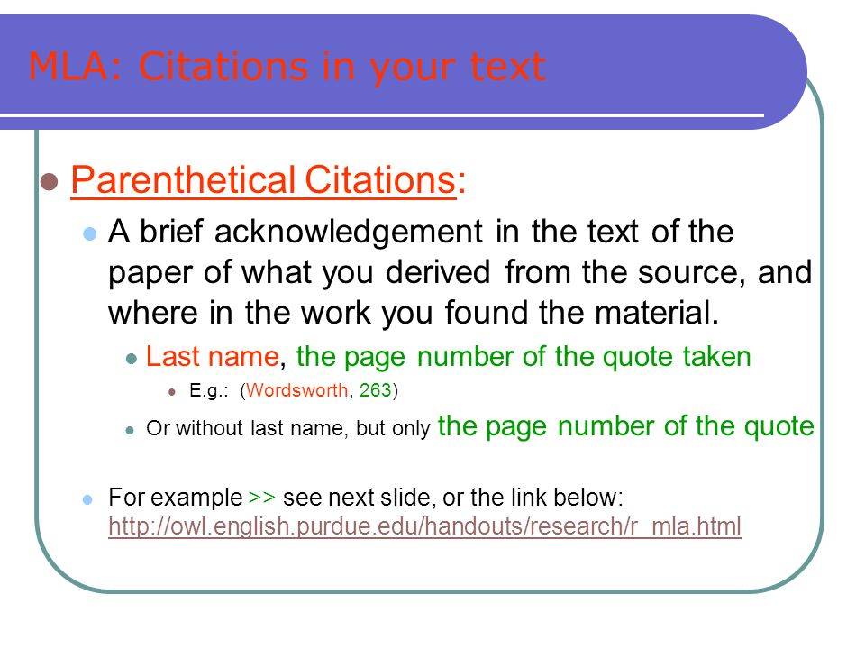 MLA: Citations in your text