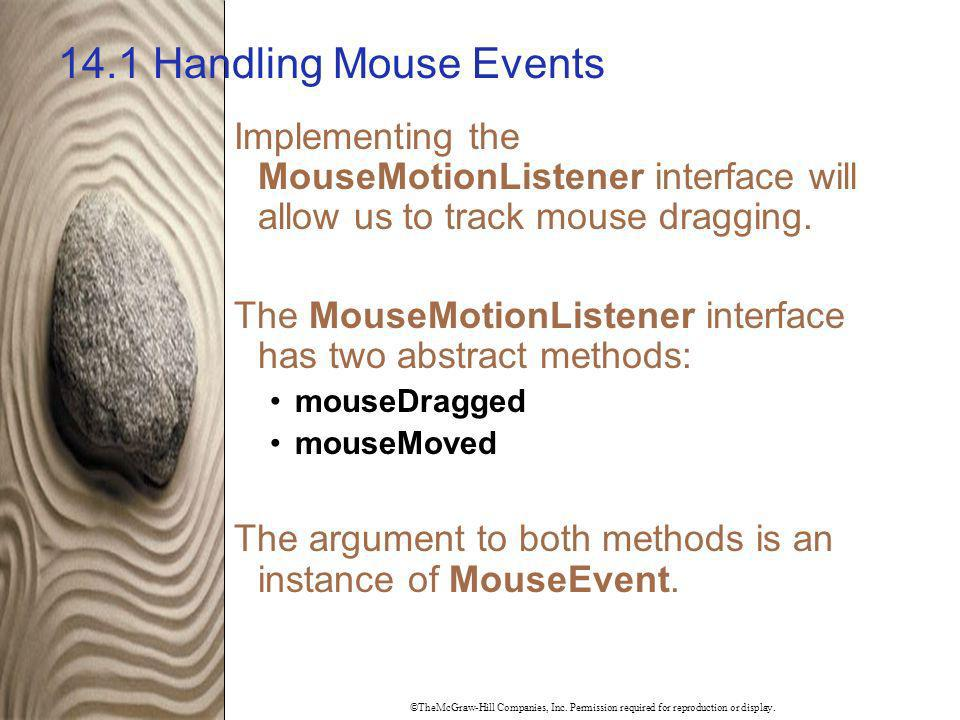 14.1 Handling Mouse Events Implementing the MouseMotionListener interface will allow us to track mouse dragging.