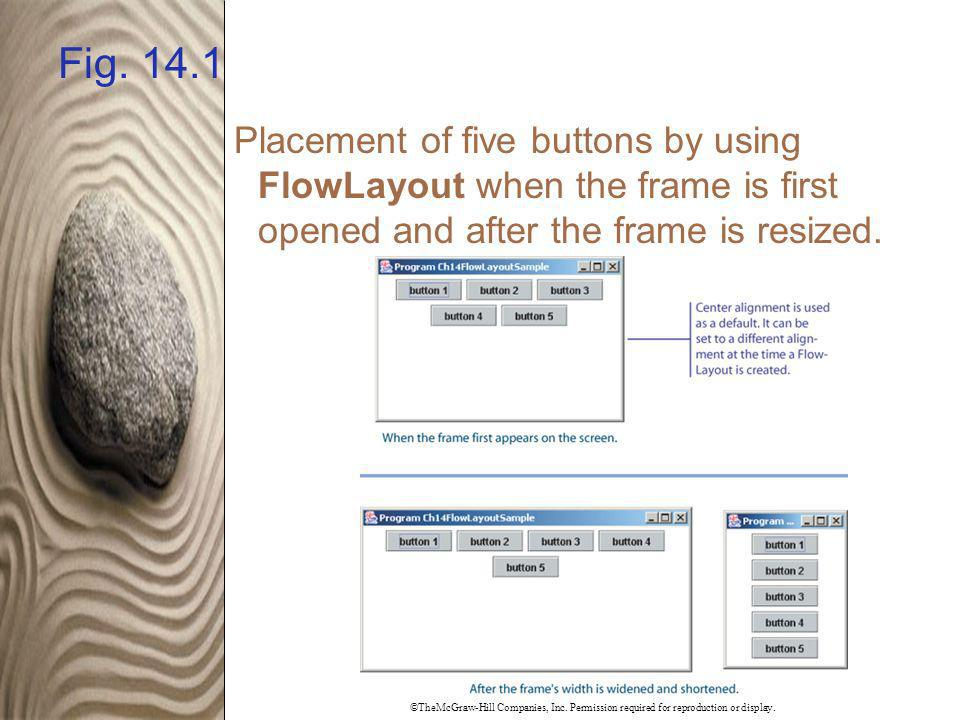 Fig. 14.1 Placement of five buttons by using FlowLayout when the frame is first opened and after the frame is resized.