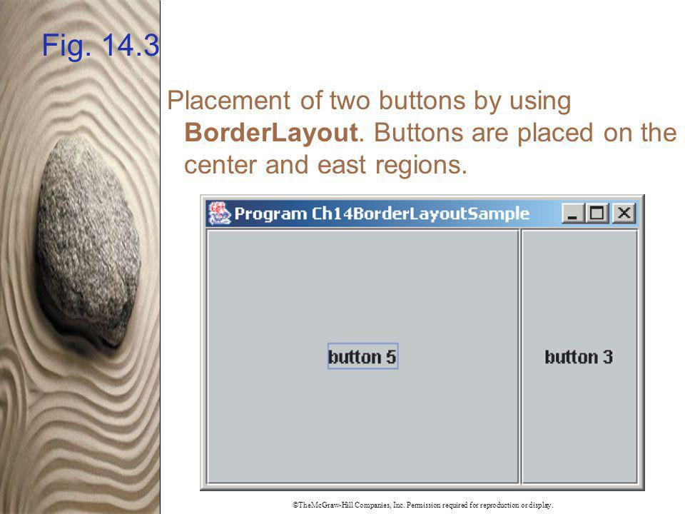 Fig. 14.3 Placement of two buttons by using BorderLayout. Buttons are placed on the center and east regions.