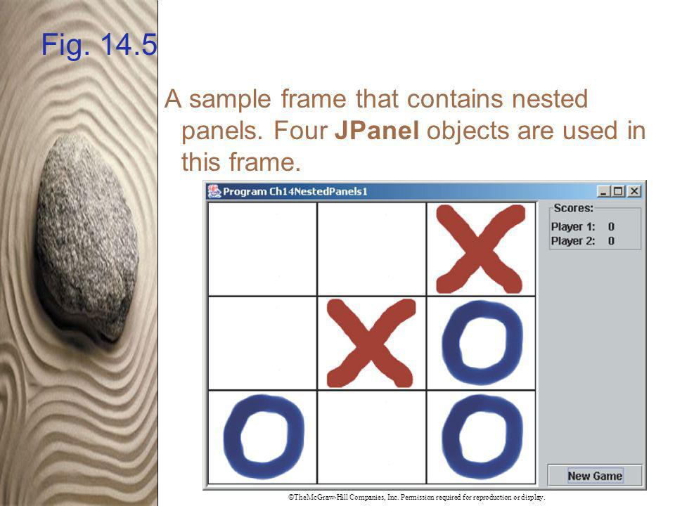Fig. 14.5 A sample frame that contains nested panels. Four JPanel objects are used in this frame.