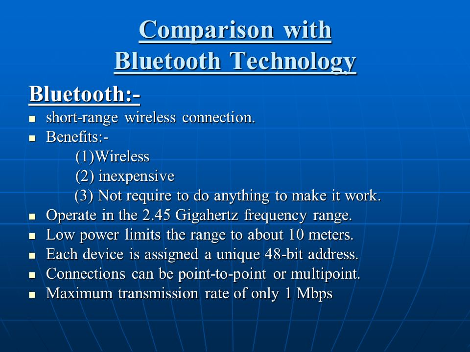 Comparison with Bluetooth Technology
