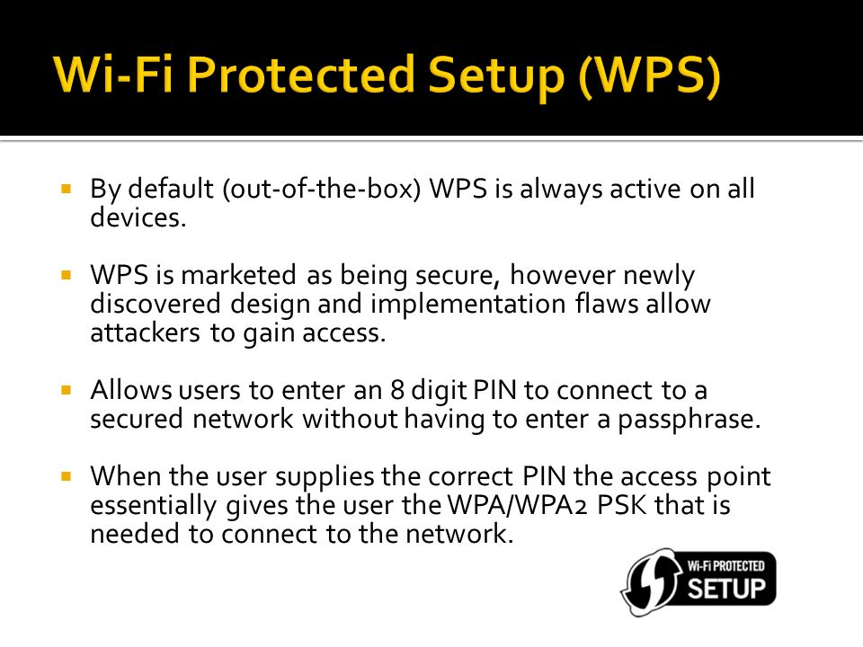Brute Force Attack Against Wi-Fi Protected Setup - ppt download