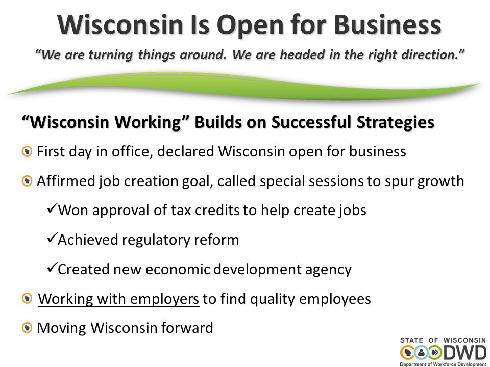 Wisconsin Is Open for Business