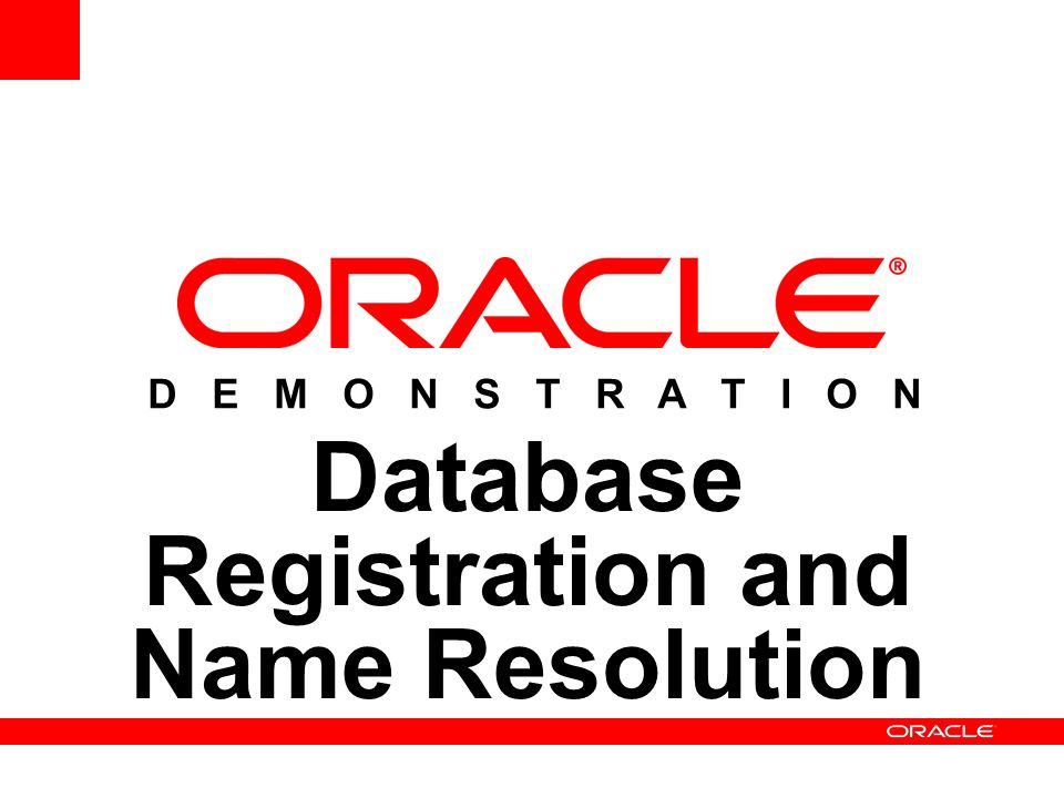 Database Registration and Name Resolution