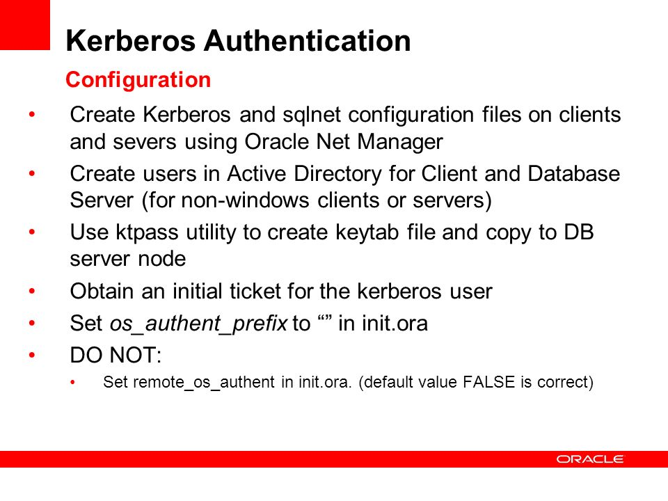 Kerberos Authentication Configuration