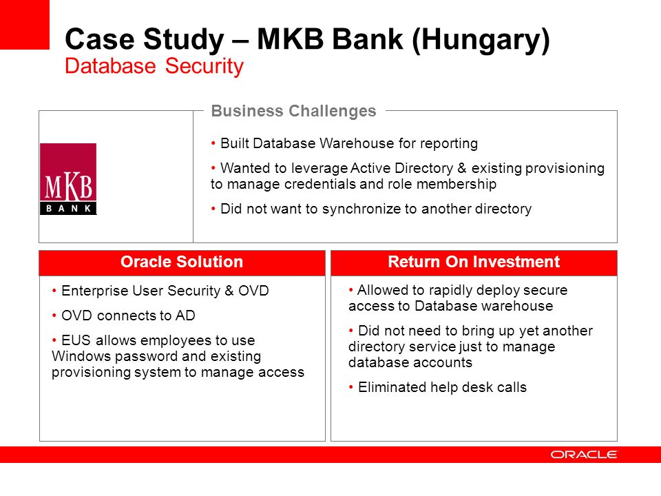 Case Study – MKB Bank (Hungary) Database Security