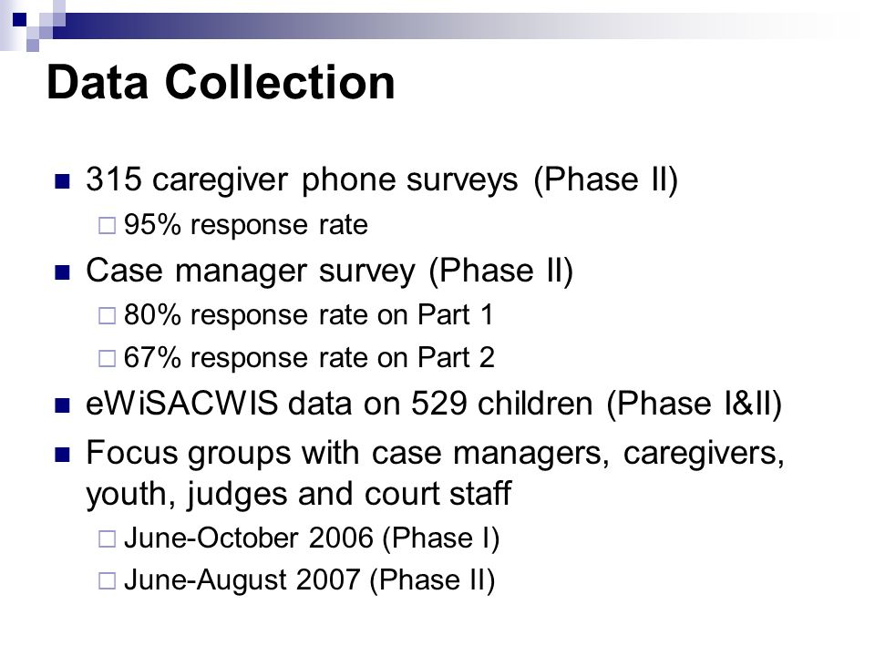 Data Collection 315 caregiver phone surveys (Phase II)