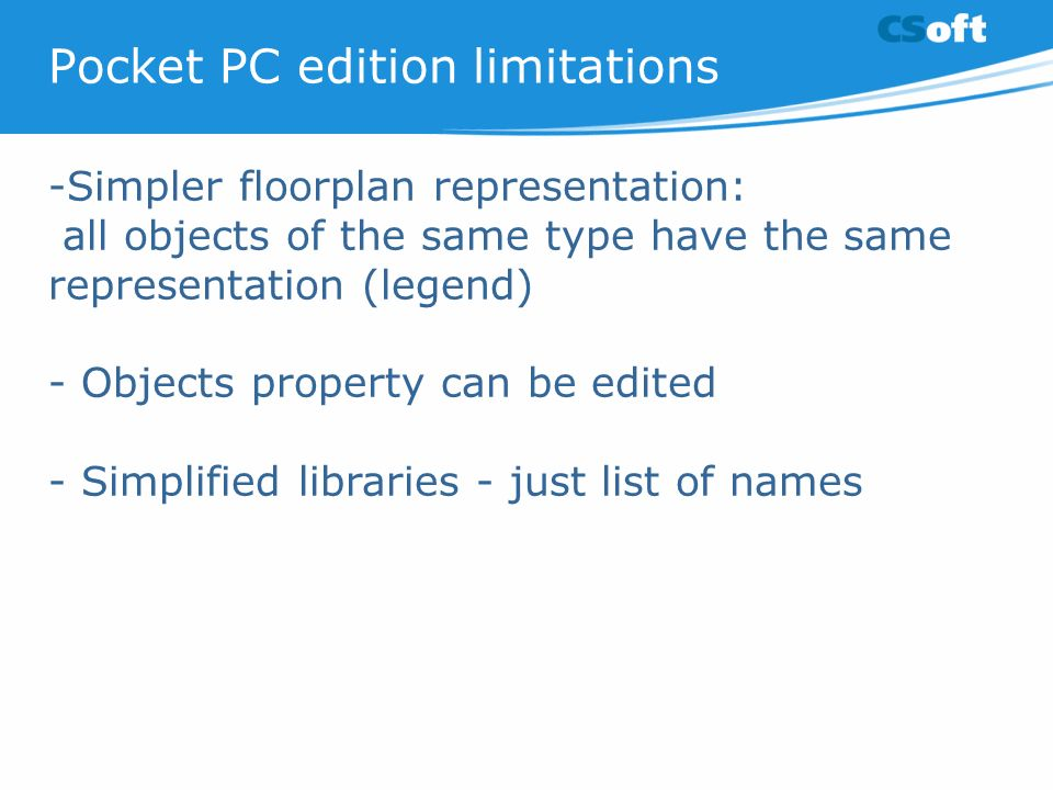 Pocket PC edition limitations