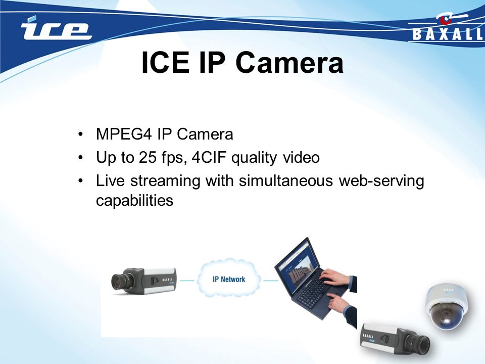 ICE IP Camera MPEG4 IP Camera Up to 25 fps, 4CIF quality video
