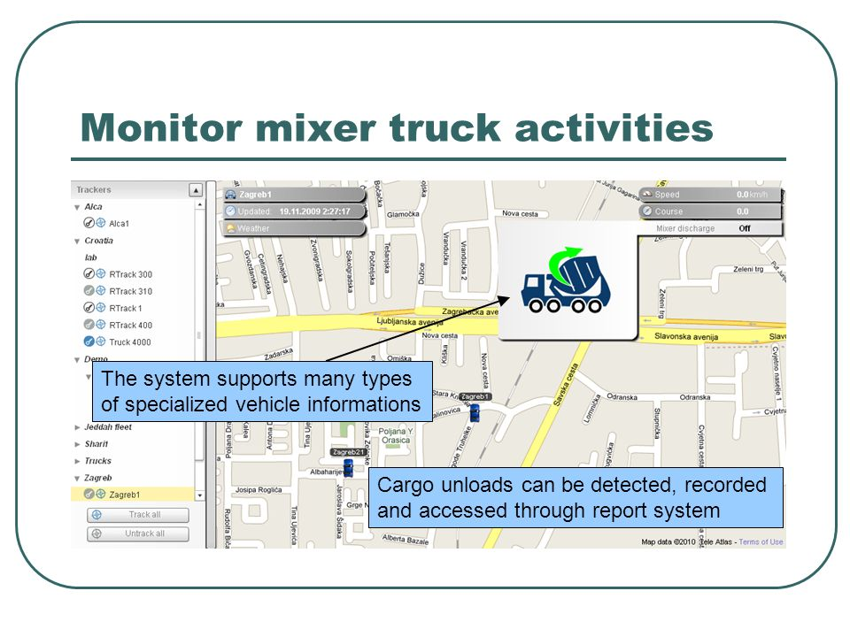 Monitor mixer truck activities