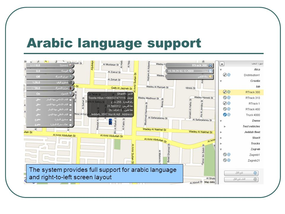 Arabic language support