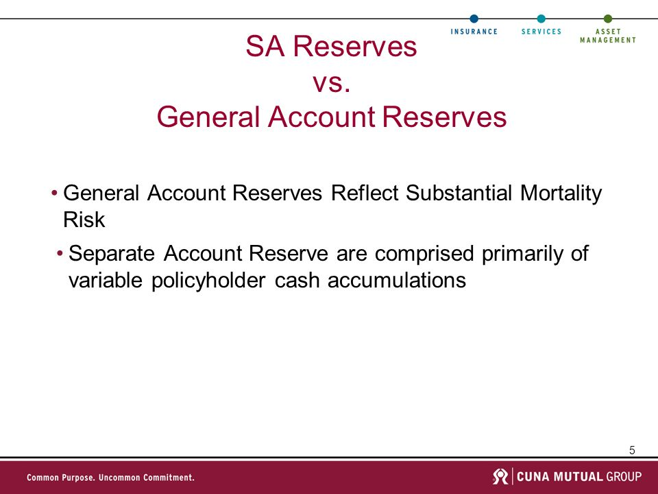 SA Reserves vs. General Account Reserves