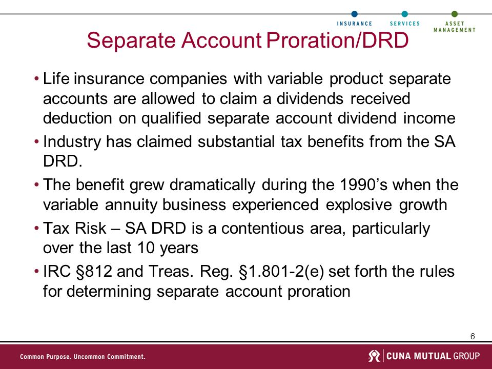 Separate Account Proration/DRD
