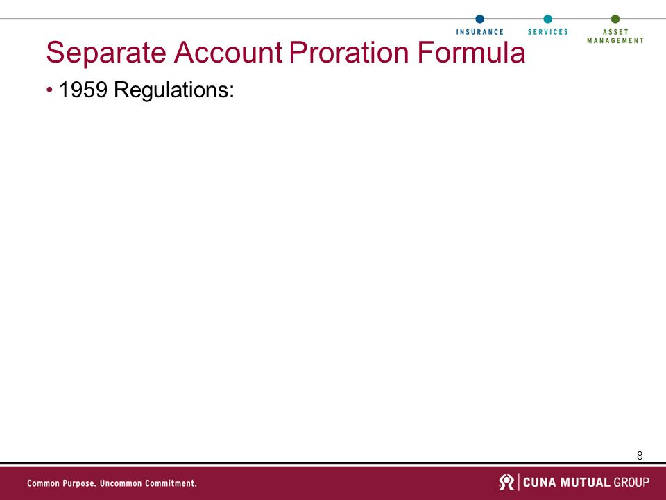 Separate Account Proration Formula