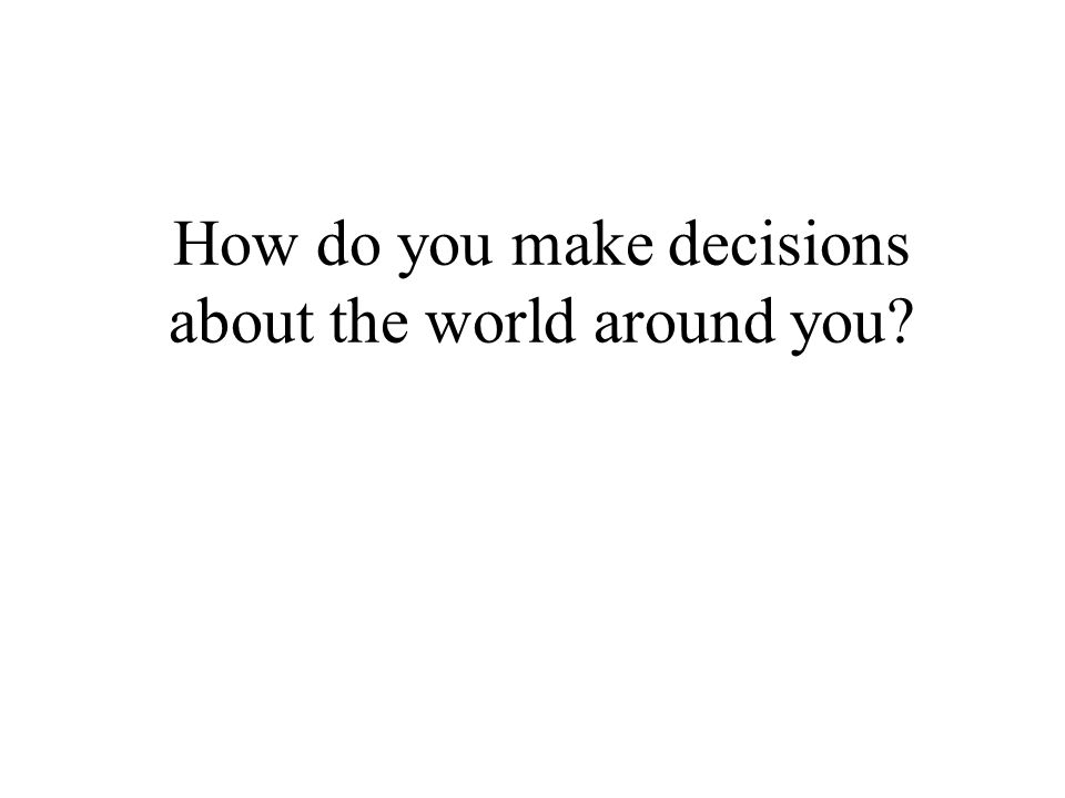 How do you make decisions about the world around you
