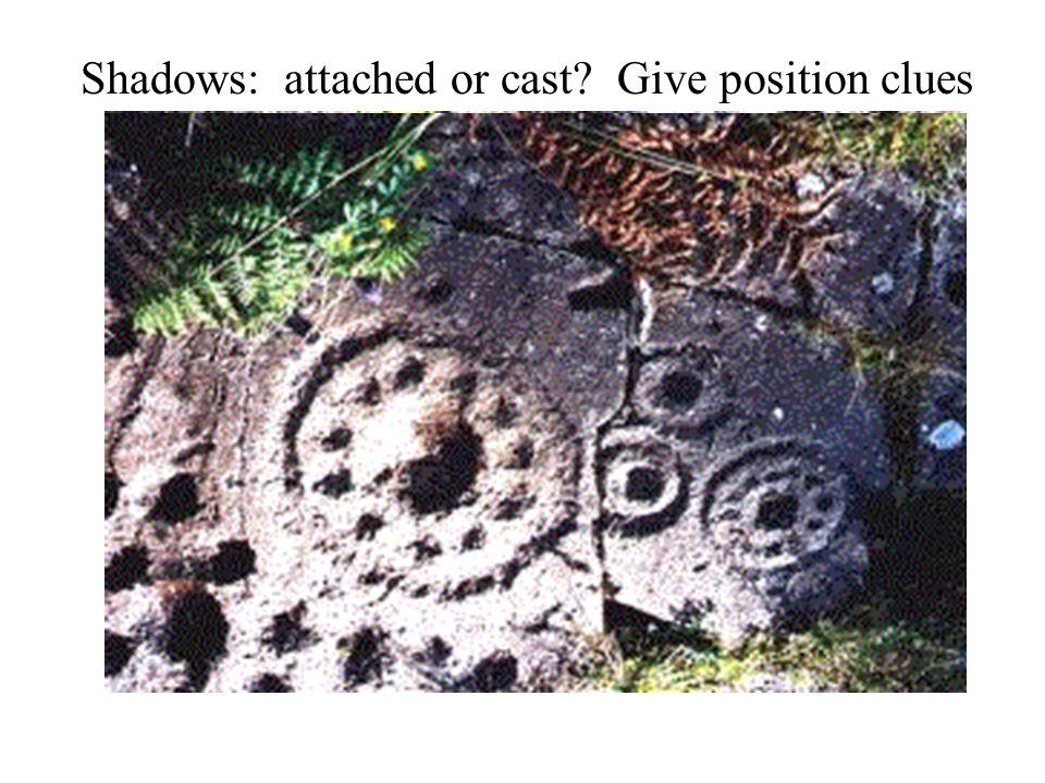 Shadows: attached or cast Give position clues