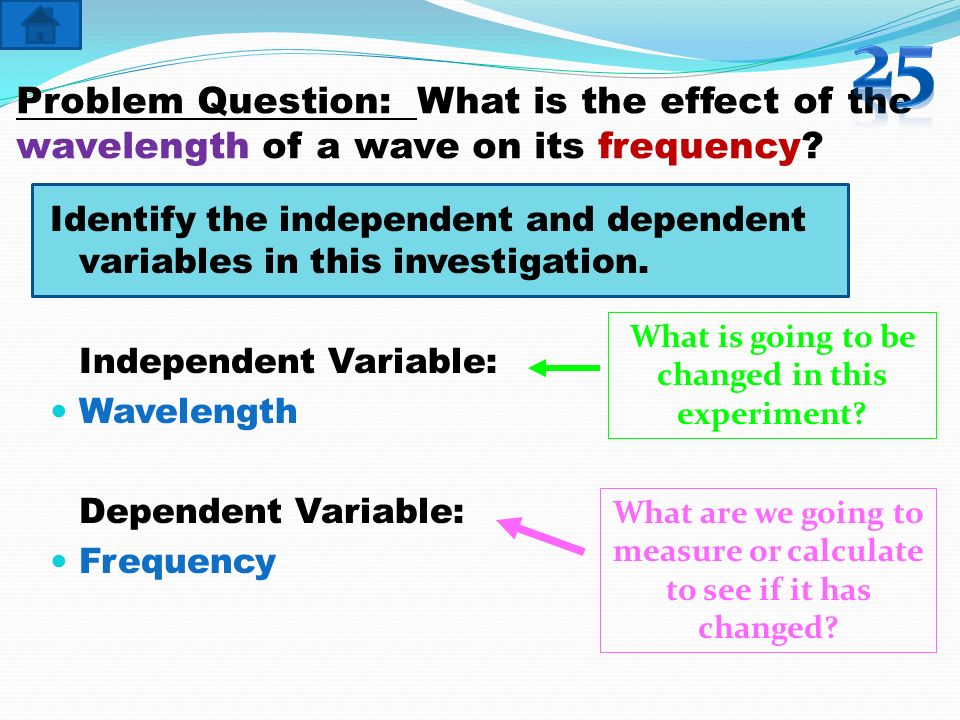 25 Problem Question: What is the effect of the wavelength of a wave on its frequency
