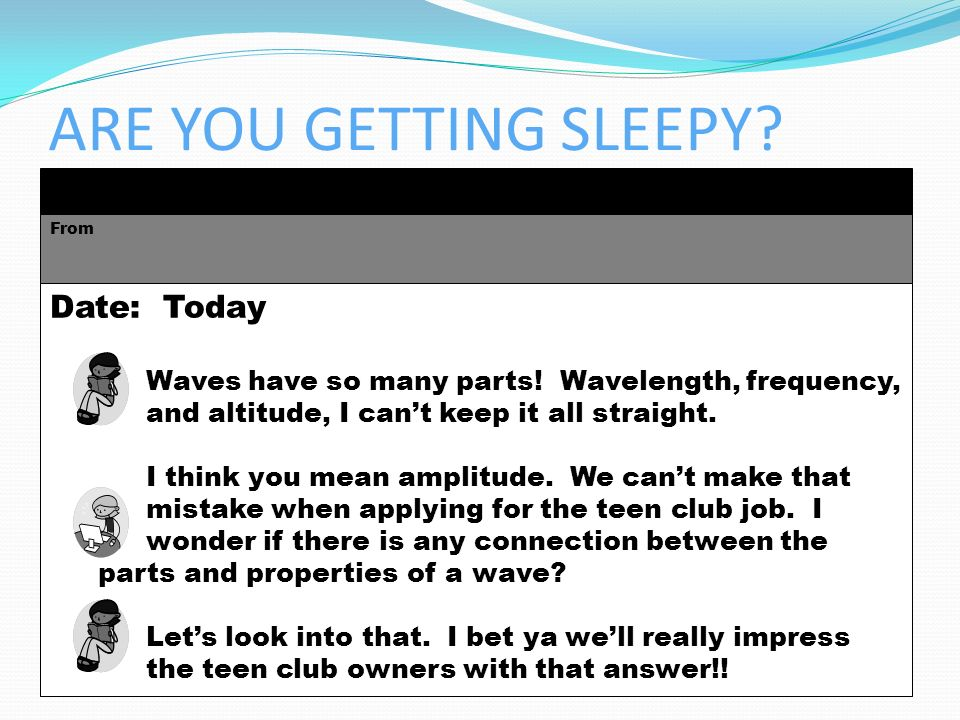 ARE YOU GETTING SLEEPY Date: Today