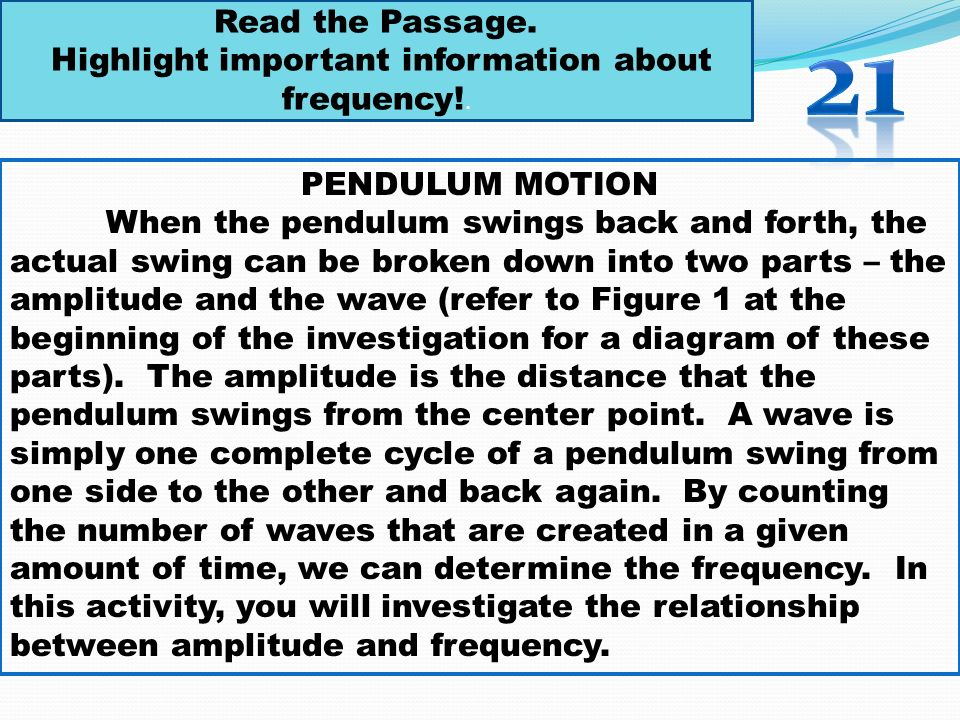 Highlight important information about frequency!.
