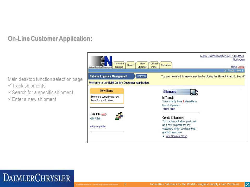 On-Line Customer Application: