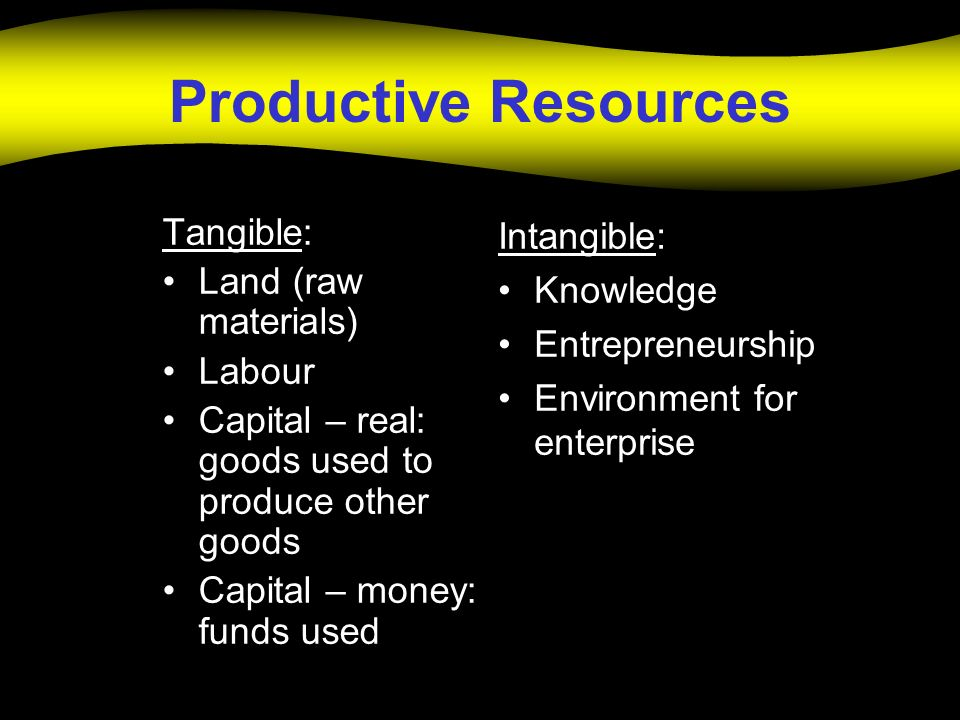Productive Resources Tangible: Land (raw materials) Labour