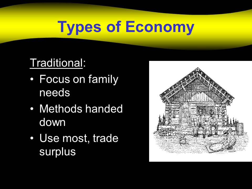 Types of Economy Traditional: Focus on family needs
