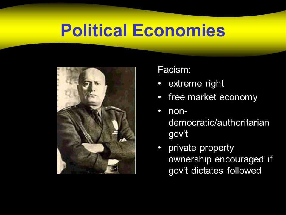 Political Economies Facism: extreme right free market economy