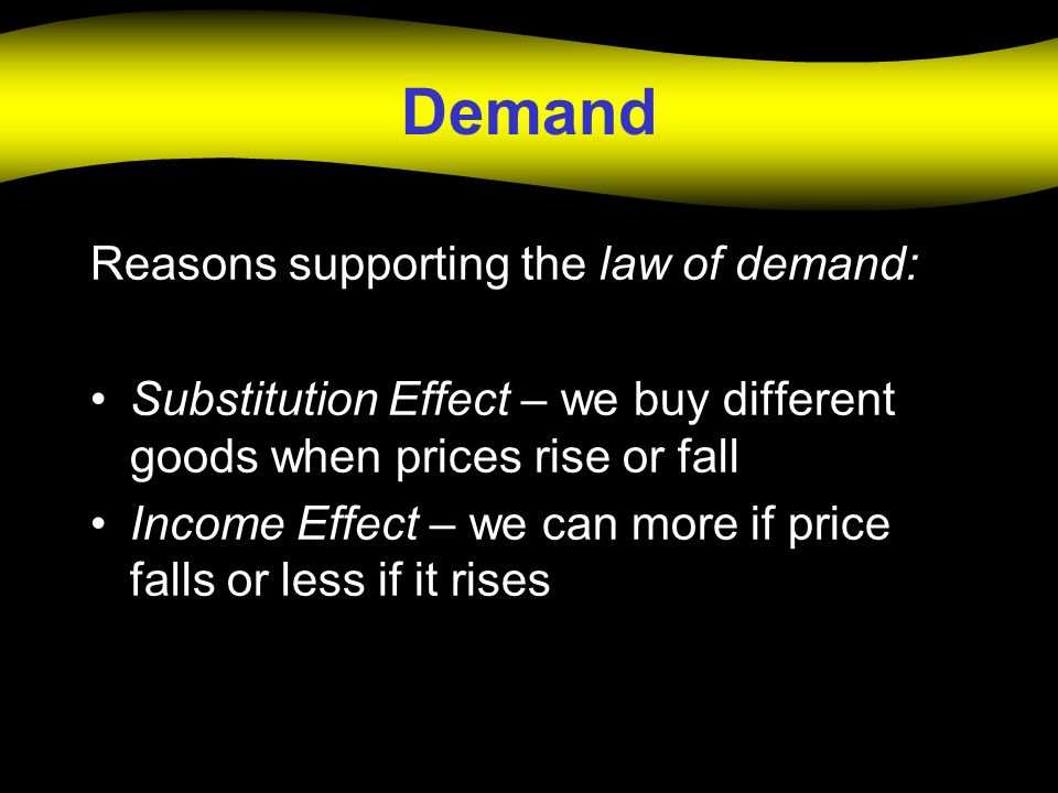 Demand Reasons supporting the law of demand:
