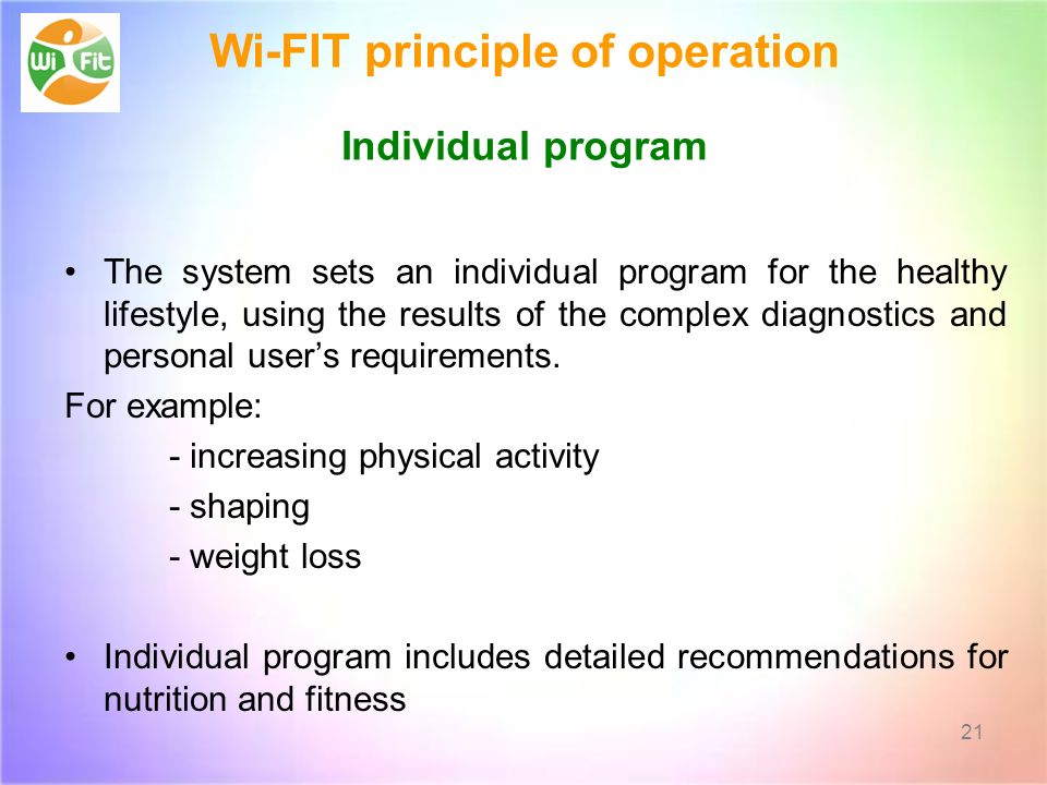 Wi-FIT principle of operation Individual program